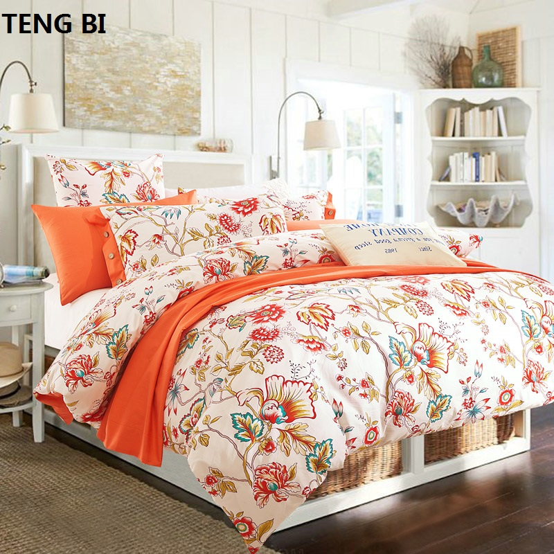 100% cotton bedding sets 4pcs queen king duvet cover set beautiful bedding quality for girls adult rose tree orange purple #2100% cotton bedding sets 4pcs queen king duvet cover set beautiful bedding quality for girls adult rose tree orange purple #2