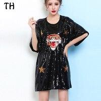 2017 блестками Звезда Тигр летнее платье Для женщин Прямые Повседневная футболка Платья для женщин Vestidos Femme #170304