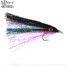 MNFT 4 PCS Baitfish Streamer Fly Saltwater Flashabou Fly Fishing Lures 4# Hook  Baitfish With Fly eyes sticked Dry Flies In Bag