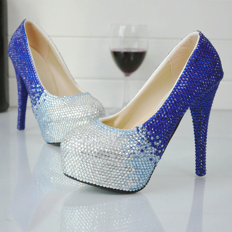 ФОТО 2017 New Designer Handmade Rhinestone Wedding Shoes Blue with Silver Crystal Bridal Shoes Platform Gorgeous Prom Party Pumps
