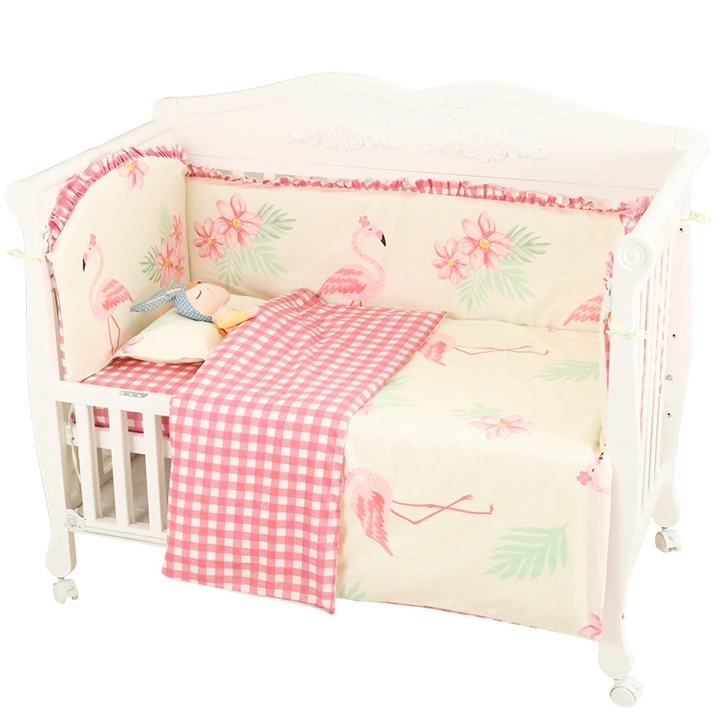 6 pcs/set Princess Style Toddler Baby Bedding Set Crib Protect Bumpers Cotton Baby Bed Linens Set Include Bumpers Sheet Pillow