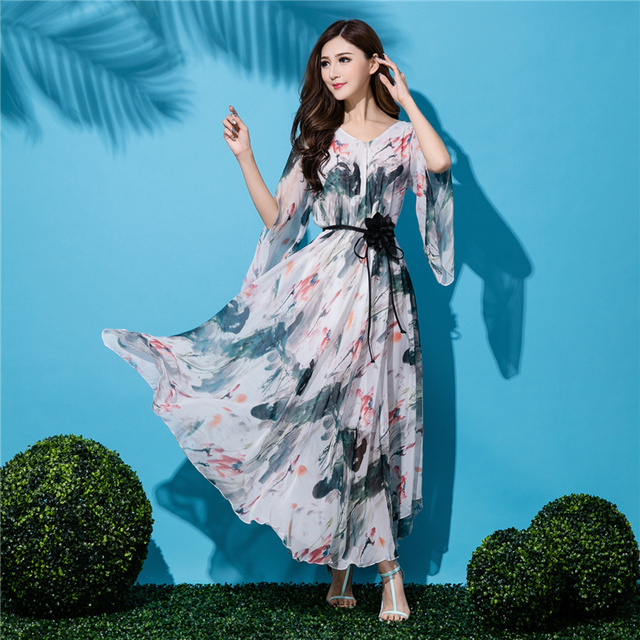 2017 Putih Chiffon Penuh Panjang Maxi Dress Pesta Pernikahan Tamu