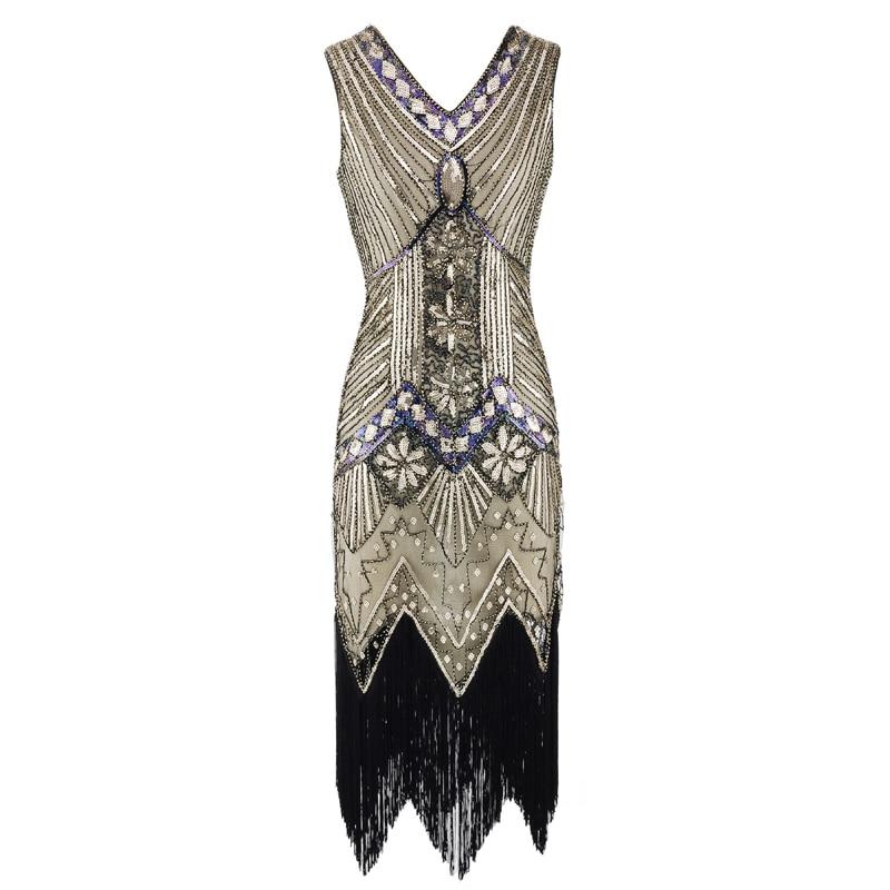 Vintage 1920s Flapper Great Gatsby Dress 2018 Summer Fancy Costumes V Neck Cap Sleeve Sequin Fringe Party Midi Dresses