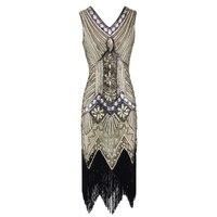 Vintage 1920s Flapper Great Gatsby Dress 2018 Summer Fancy Costumes V-Neck Cap Sleeve Sequin Fringe Party Midi Dresses