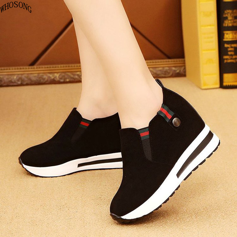 WHOSONG Shoe Platform-Shoes Wedges High-Heels Autumn Woman Loafers Sneakers Spring Canvas