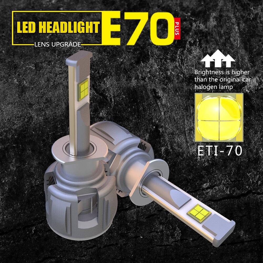 2 PCS 6000K 60W/120W 12000LM E70 XHP70 Chip Car LED Headlight Kit Beam Bulbs H4 H7 H11 9005 9006 H1 H3 Error Free Auto Headlamps 2 new 160w led headlight conversion kit 9005 hb3 9006 h7 high beam bulbs sharp chip canbus error free no flicker plug and play