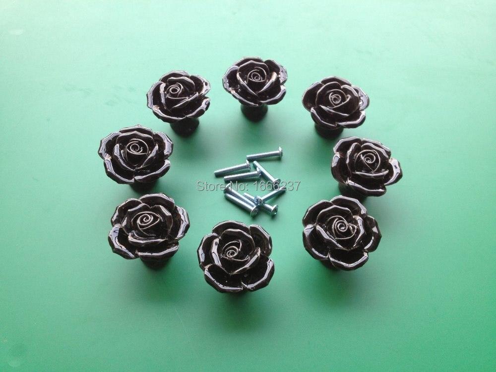 """Дополнительный черный Винтаж Роза цветочная керамическая дверная ручка шкафчика ящик Кухня нажимная ручка для шкафа для """"сделай сам"""""""