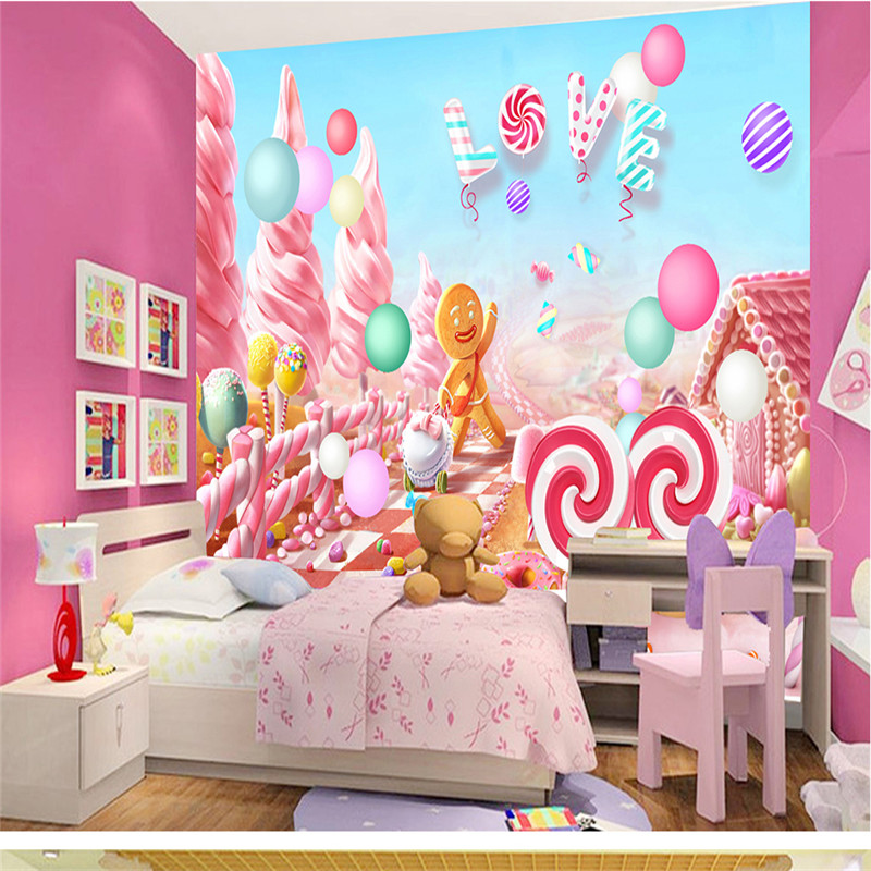 Pink Candy Lollipop Photo Wallpapers Lovely Cartoon Wall Murals for Kids Bedroom Walls Papers Home Decor Living Room Girls Boys birthday cake