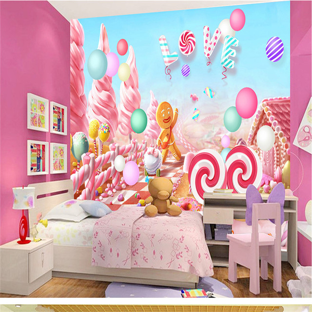 Pink Candy Lollipop Photo Wallpapers Lovely Cartoon Wall Murals For Kids  Bedroom Walls Papers Home Decor Living Room Girls Boys