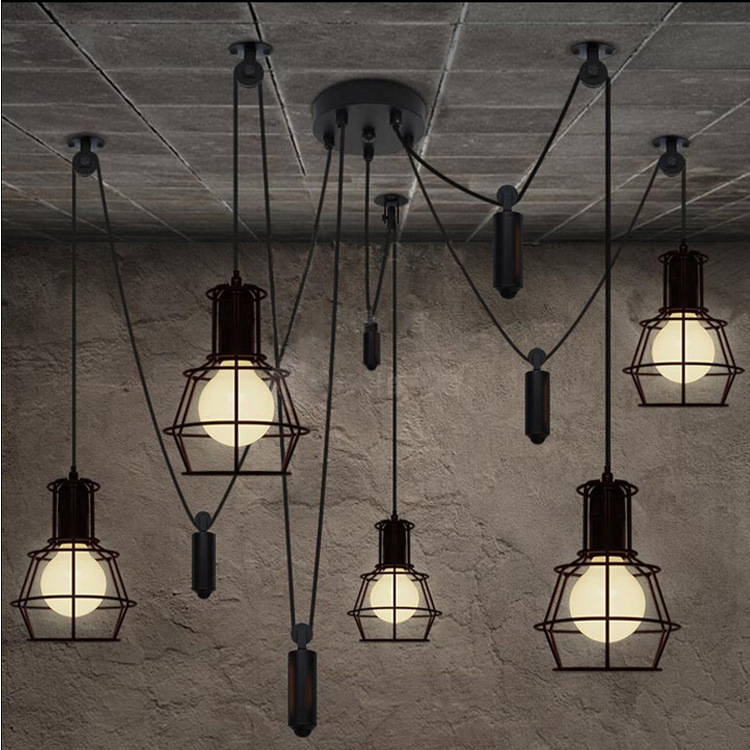 Magnificent industrial wire lighting composition electrical and loft industrial style diy lifter iron cage pendant lights bar cheapraybanclubmaster Gallery