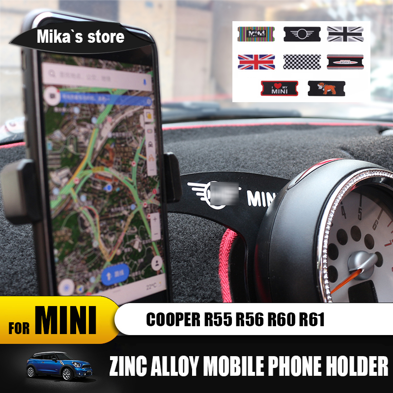 car auto metal mobile phone holder for mini cooper R55 R56 R60 R61 car styling clubman countryman cell phone holder accessories-in Car Stickers from Automobiles & Motorcycles