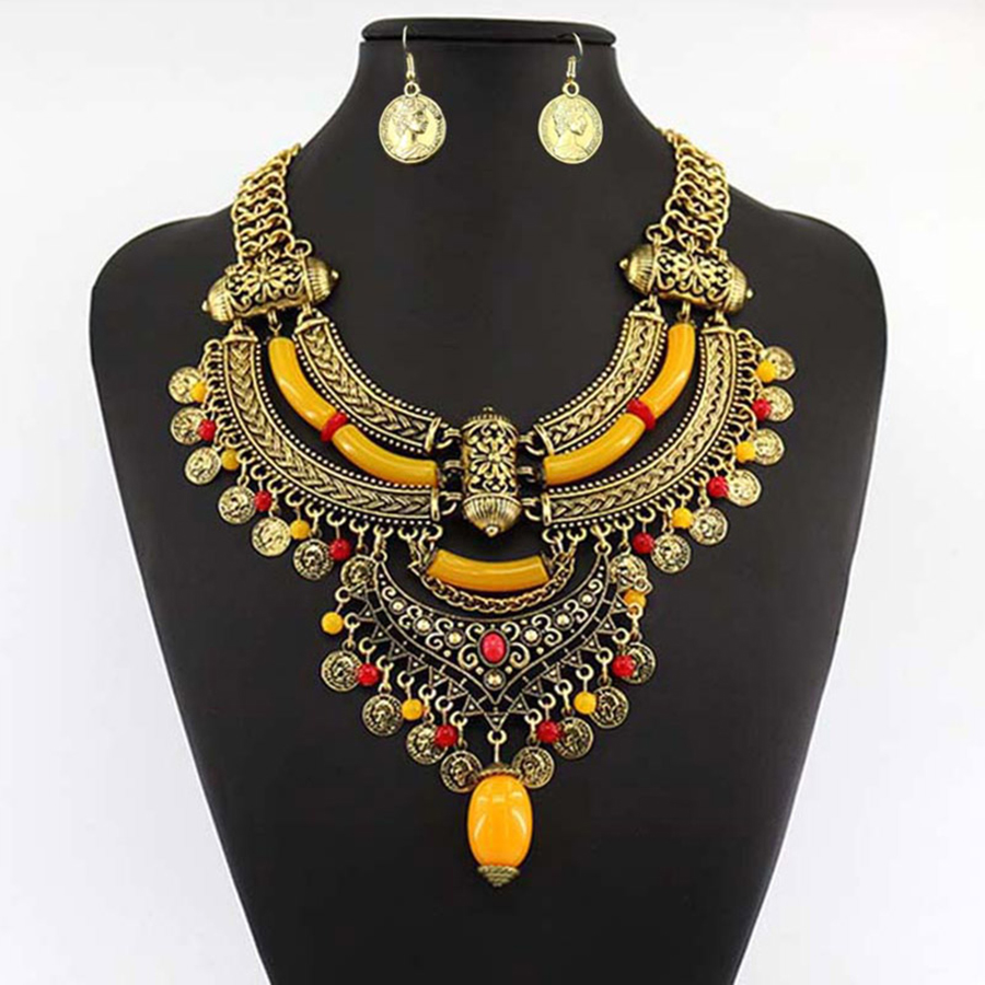 Jianxi necklace pendant fashion brand jewelry set colorful earring new design national style Design and style fashion jewelry