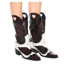 187ba32b8 Qianruiti Rosa marrón zapatos Vintage zapatos de mujer colores mezclados  antiguo de cuero Botas de Punta apilado cubano tacón Bo.