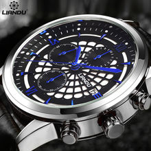цена LIANDU Men's Casual Quartz Watch Chronograph & Calendar Leather Strap Black Waterproof Popular Sports Wathches For Men онлайн в 2017 году