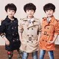 Бесплатная доставка новый 2015 осень двубортный мальчики одежда ребенок ребенок траншеи верхняя одежда пальто мальчик пальто классического