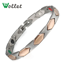 Wollet Jewelry Pure Titanium Bracelet For Women Infrared Tourmaline Germanium Rose Gold Color Bio Magnetic