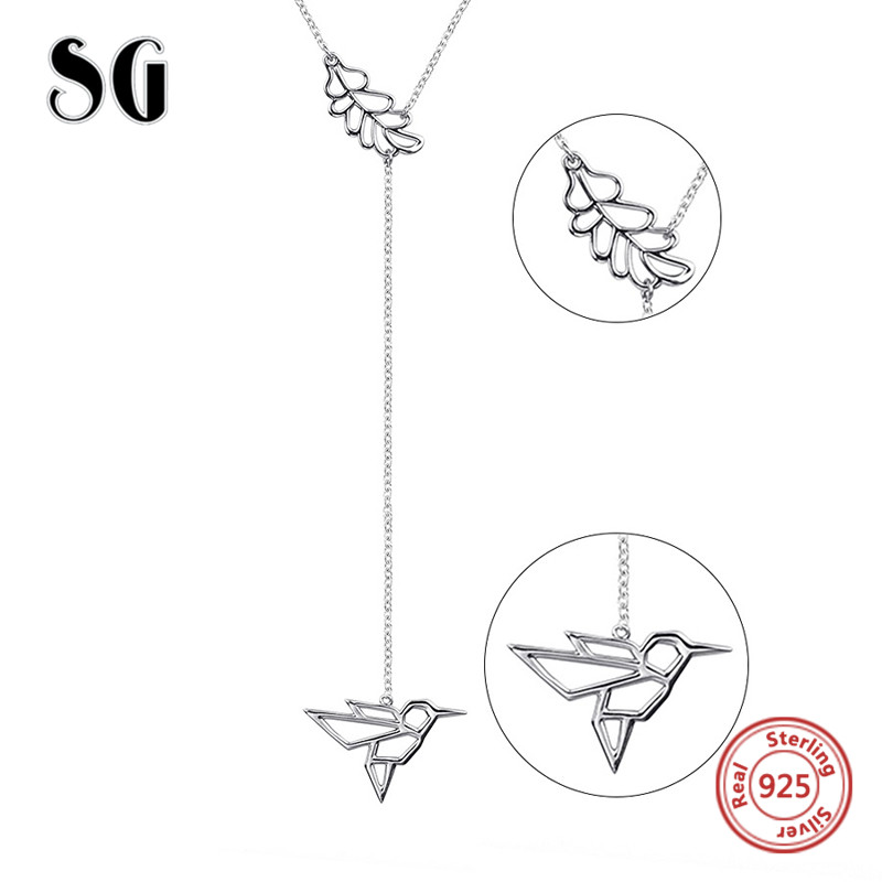 Hot sale lovely bird and flower chain pendant&necklace 925 sterling silver European diy fashion jewelry making for women gifts