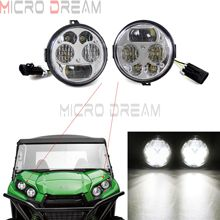 1 pair UTV & ATV Custom Chrome 6000K LED Headlight For Kawasaki Teryx4  Teryx 4 750 EPS LE 2012-2015 Brute Force 2012-2016