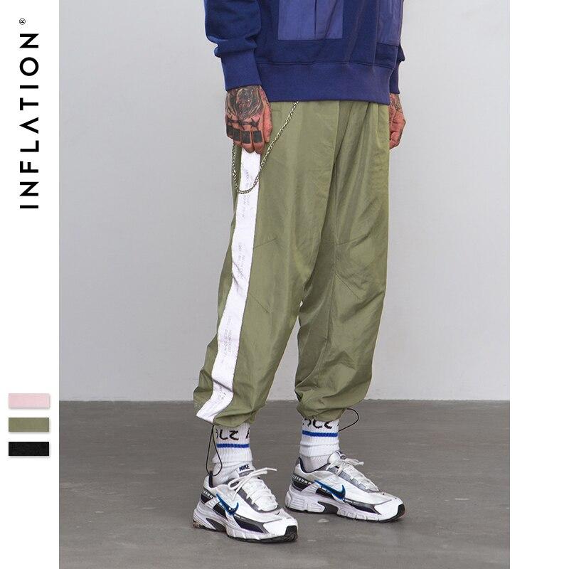INFLAÇÃO Refletir A luz Lateral fita calças basculador Sportswear Calças 2018 Nova Moda Do Vintage Calça Casual Roupas de Marca 8880 w
