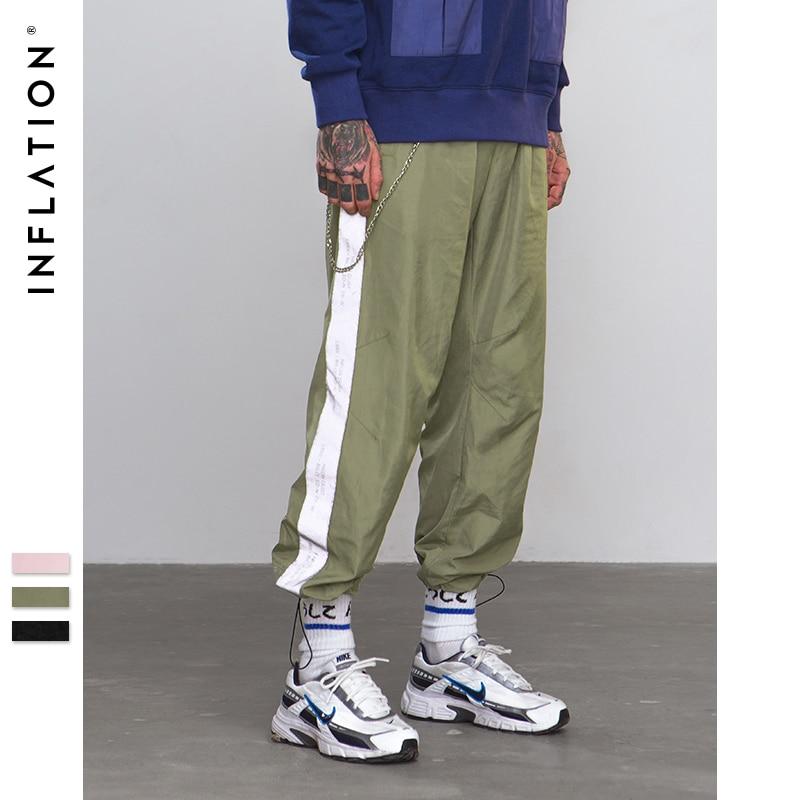 INFLATION Seite Spiegeln licht band jogger hosen Sportswear Vintage Hose 2018 Neue Mode Casual Hosen Marke Kleidung 8880 watt