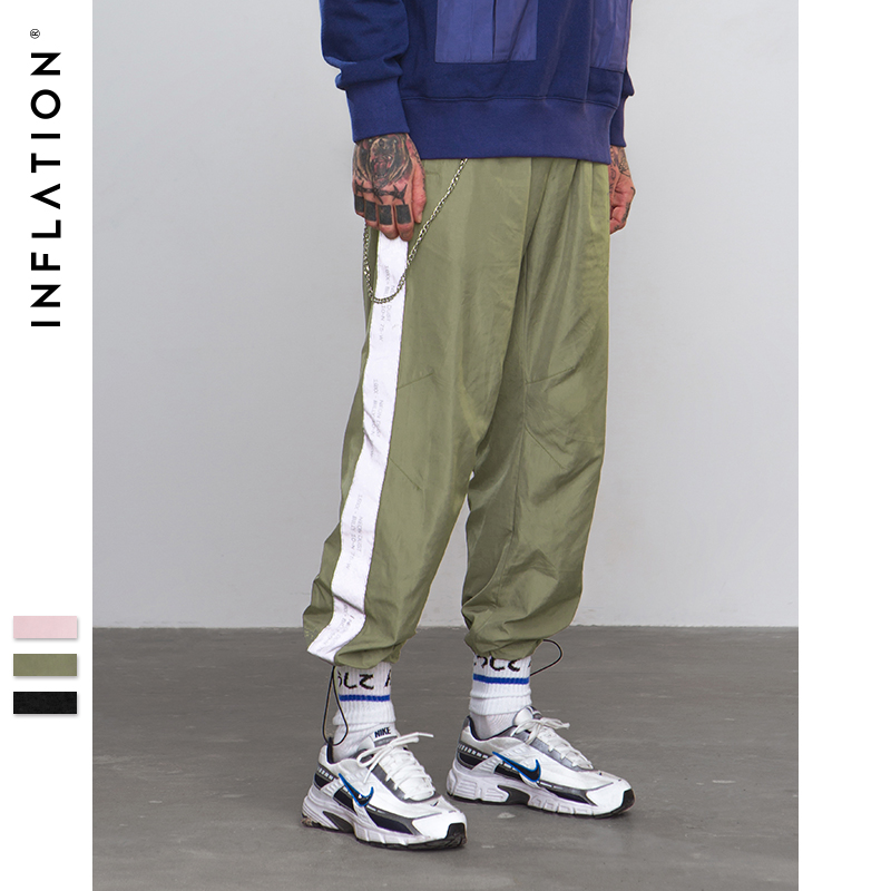 Inflation Side Reflect Light Tape Jogger Pants Sportswear Vintage Trousers New Fashion Casual Pants Brand Clothing 8880w