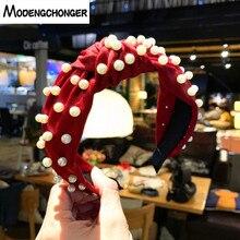 For Women High Quality Pearl Cloth Hairband Turban Head Bezel Elastic Headband Intermediate Knot Fashion Sweet Hair Accessories