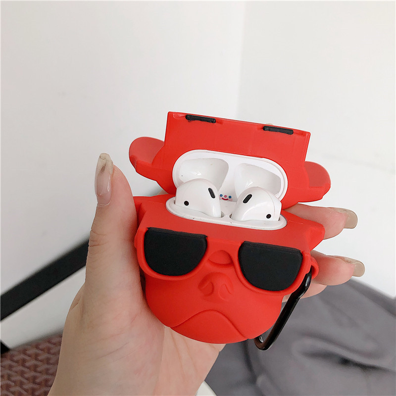Image 5 - For AirPods 2 Case Cute Cartoon Cool Glass Bulldog Earphone Case For Apple Airpods Soft Silicone Protect Cover Funda-in Earphone Accessories from Consumer Electronics