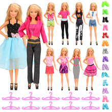 Newest Fashion Handmade 30 Items/set=10 x Doll Girl Clothes +10 Hangers+10 Shoes For Barbie Doll Clothes Set Birthday Gift dress clothes shoes for barbie doll leisure blouse trousers short accessories princess fashion birthday gift toy for girl kid