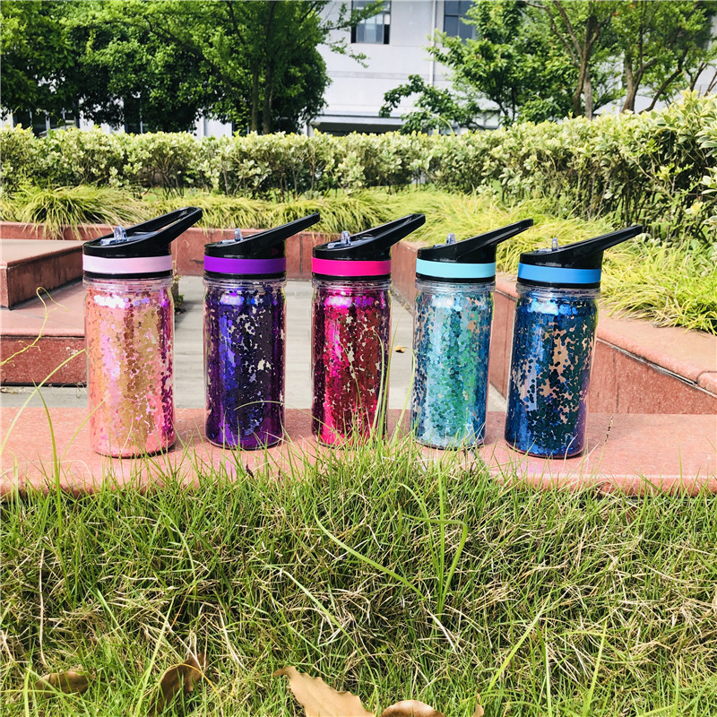 750ML 350ml Double Wall Plastic my water bottle Sequins gold Stardust outdoor travel cup portable handle straw Sports kettle in Water Bottles from Home Garden