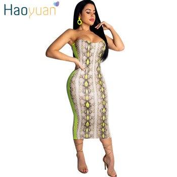 0d36dcbe019c Vestido Sexy con estampado de serpiente de neón HAOYUAN para mujer ropa de  verano con hombros descubiertos vestido Bodycon para Fiesta Club Vestidos  ...