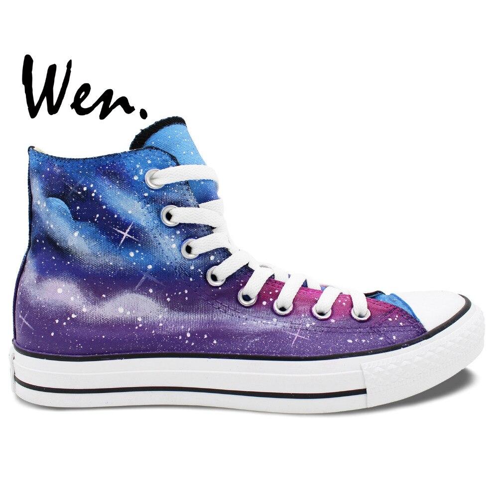 Prix pour Wen Original Peint À La Main Toile Chaussures Design Personnalisé Galaxy Bleu Foncé Et Violet Starlight High Top Hommes Femmes de Toile Sneakers