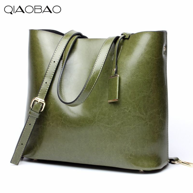 QIAOBAO 100% Natural Leather Totes women messenger bags Fashion Composite bag women famous brands designer Handbag цена и фото