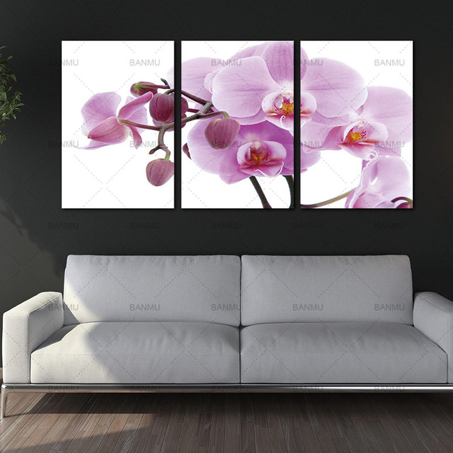 3 Panels Unframed Canvas Photo Prints Pink Butterfly Orchid Flower Wall Art Picture Canvas Paintings Wall Decorations