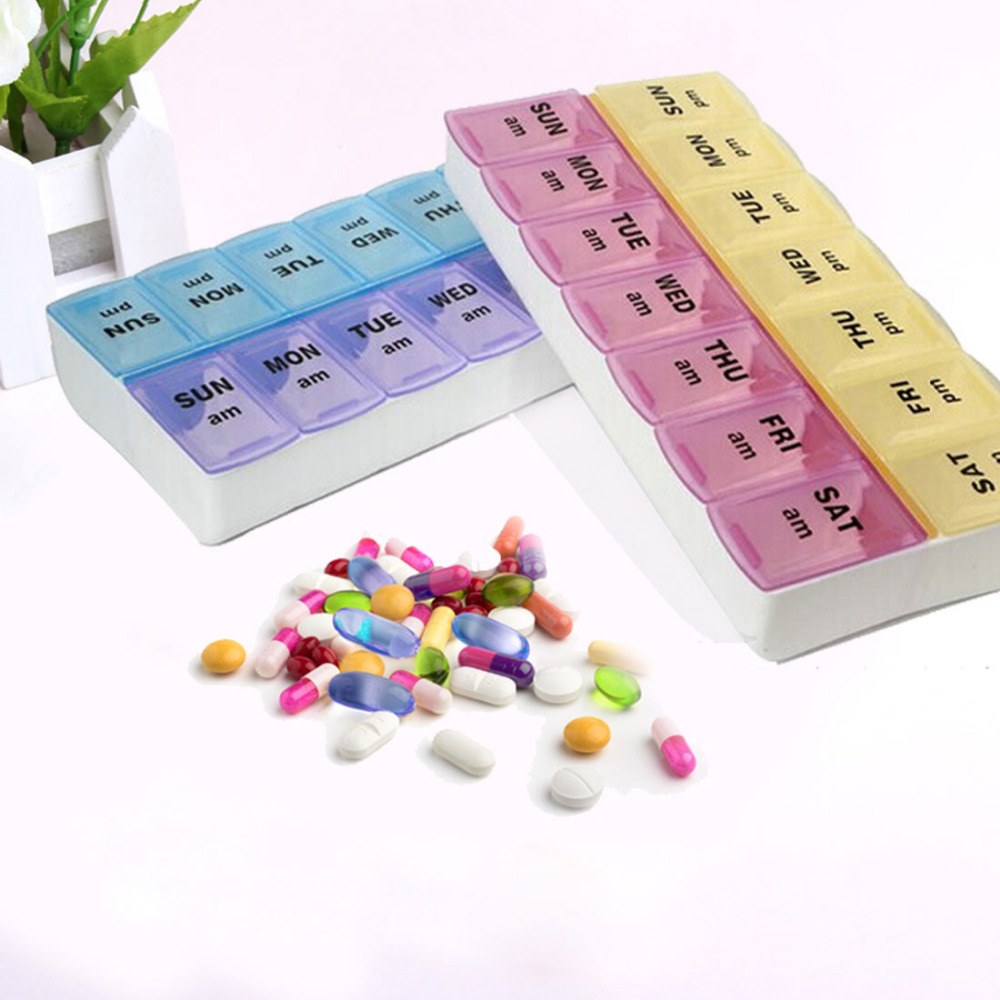Suur tähelepanuväärne 7 päeva Pill Box koos klamber kaaned - Kodu ladustamise ja organisatsiooni