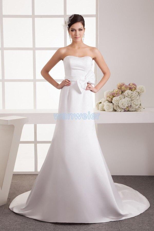 free shipping 2016 design hot off the shoulder fashion handmade bow bride small train custom size/color white   Bridesmaid     Dress