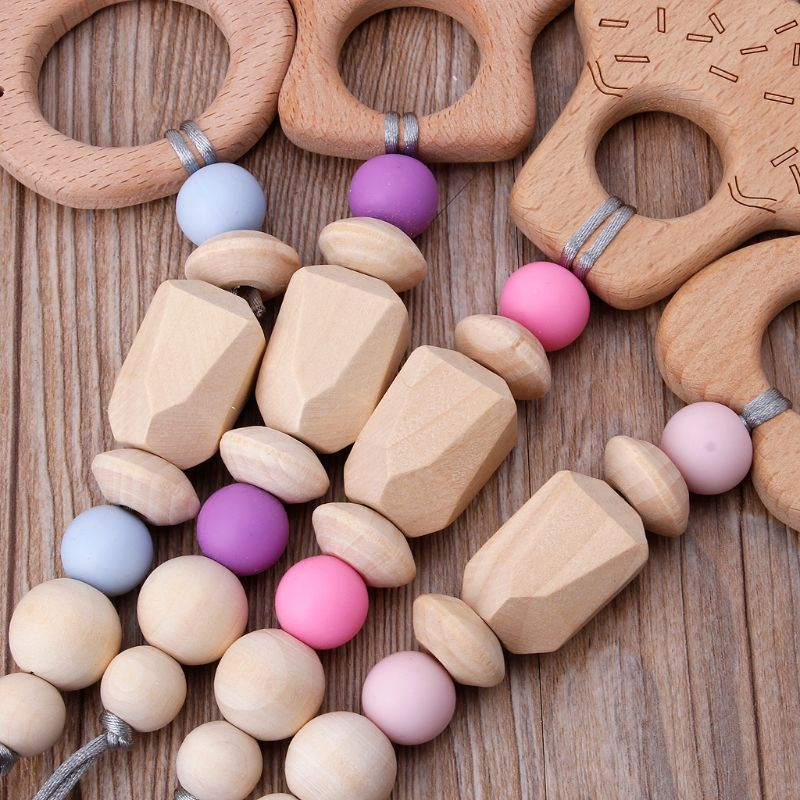 Купить с кэшбэком Baby Wooden Animals Teether Rattle Chewable Silicone Beads Play Gym Stroller Toy Nursing Pendant Charms Teething Toys