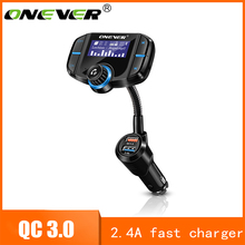 Onever FM Transmetteur Bluetooth FM Modulateur 2 Port Charge Rapide 3.0 Chargeur Mains Libres Voiture Kit 1.65 ''MP3 Lecteur Soutien siri(China)