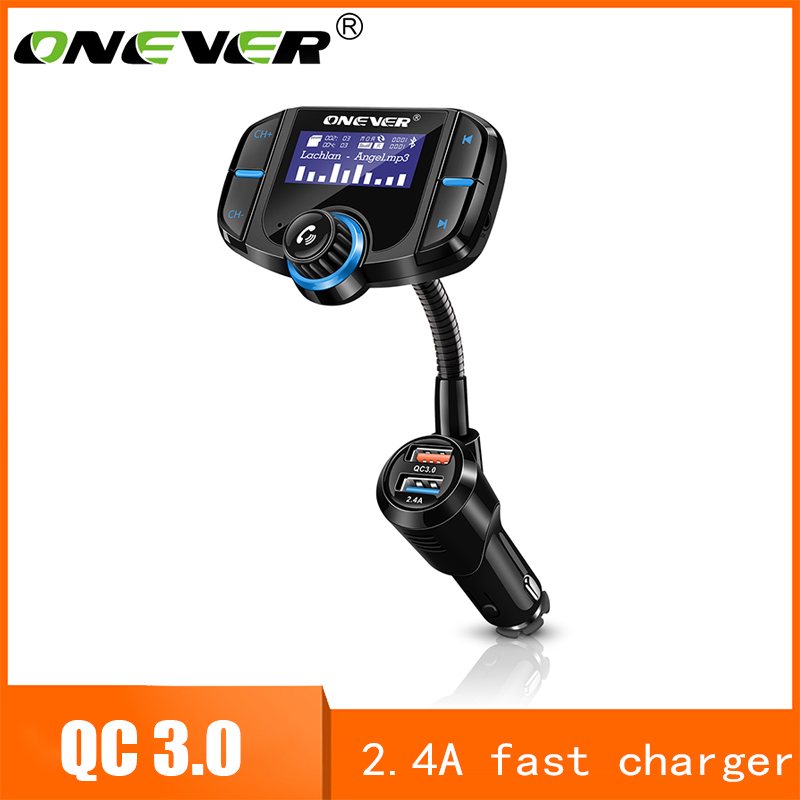 Onever Fm Transmitter Bluetooth Fm Modulator 2 Port Fast Cost 3.Zero Charger Handsfree Automobile Equipment 1.65'' Mp3 Participant Help Siri