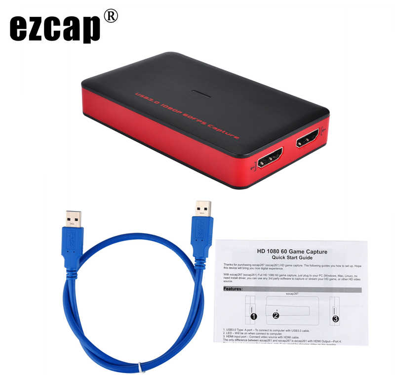Ezcap 1080P 60fps Full HD Video Recorder HDMI to USB 3 0 Capture Card BOX  For Windows Mac Phone Game Support PC Live Streaming