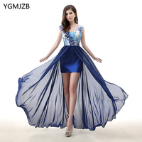 Navy Blue Long Evening Dress Floral 2020 High Low V Neck Lace Applique Flower Chiffon Formal Party Gown Prom Dress