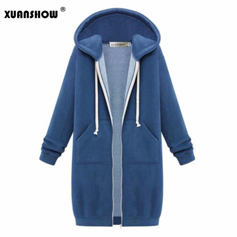 XUANSHOW Winter Jacket Women Fashion Hoodies Outwear Long Sleeve Pocket Zipper Loose Keep Warm Ladies Coat
