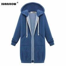 XUANSHOW зимняя куртка для женщин модные толстовки с капюшоном верхняя одежда длинным рукавом карман на молнии свободные утепленная
