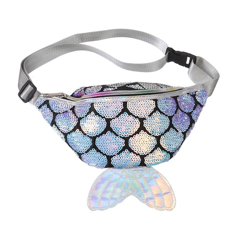 Cute Fish Tail Shape Design Sequins Women Waist Bag Money Pouch Chest Belt Bags Fashion PU Leather Fanny Pack For Girl Female