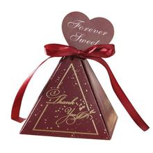 30pcs/lot Pyramid Style Wedding Favors Candy Boxes with Ribbon Chocolate Packaging Box Baby Shower Favor Gift Box 20pcs lot new design drawer paper candy chocolate boxes baby shower gift packaging box birthday wedding party favor box