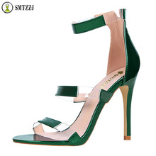 Luxury Brand 10 cm High Heels Zipper Sandals Clear Transparent Strappy Sandalias Shoes Women Peep Toe Sexy Party Female