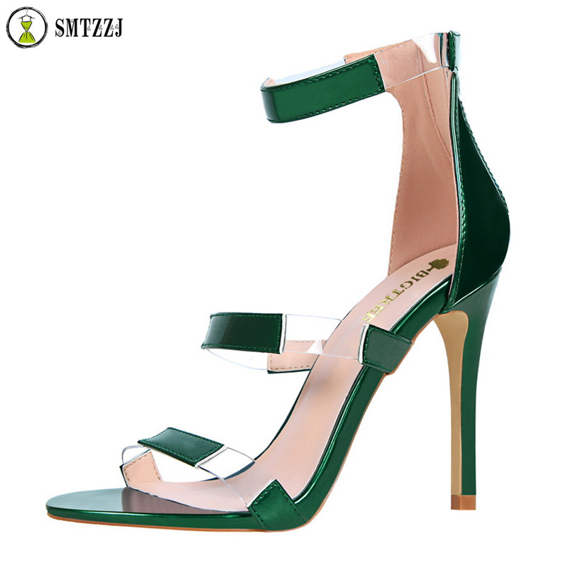 Luxury Brand <font><b>10</b></font> cm High Heels Zipper Sandals Clear Transparent Strappy Sandalias Shoes Women Sandals Peep Toe <font><b>Sexy</b></font> Party Female image