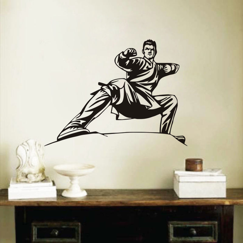 Домашний Декор карате Stance виниловые наклейки на стены дома живет росписи Книги по искусству декоративные Стикеры съемный Вырезка дети Обув...