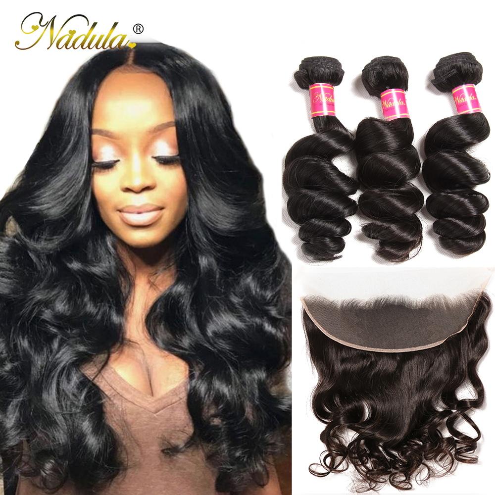 NADULA HAIR Loose Wave Bundles With Frontal Brazilian Hair Weave Bundles With Frontal Closure Human Hair Bundles With Closure