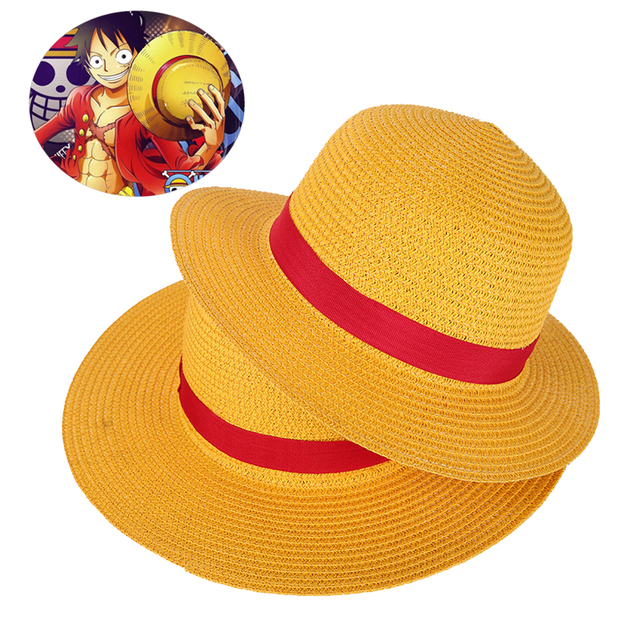 ed8f36cda79 Boy Girl One Piece Cap Straw Hat Neck String Luffy Flat Hats Cosplay  Japanese Cartoon Props Hat Kid Red Stripe Beach Hat YF001