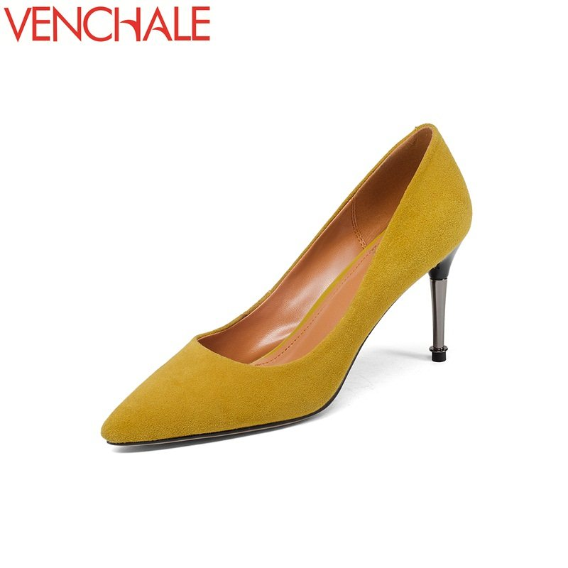 VENCHALE 2018 newest zapatos mujer grind arenaceous sexy solid pointed toe woman pumps high thin heels stiletto spring shoes cdts 35 45 46 summer zapatos mujer peep toe sandals 15cm thin high heels flowers crystal platform sexy woman shoes wedding pumps